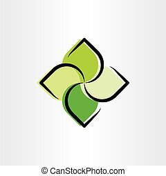 eco green leaves logo illustration symbol