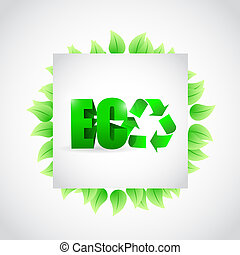 eco green leaves sign illustration design