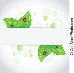 Eco green leaves with ladybugs sticking out of the cut paper
