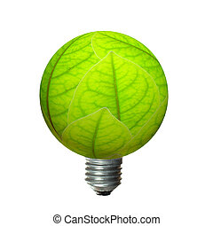 Eco green light bulb isolated