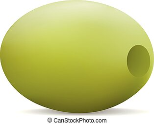 Eco green olive icon, realistic style