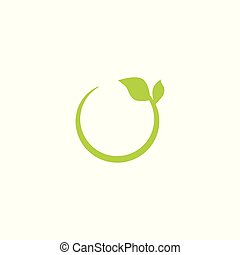 Eco green recycling circle icon with leaf.