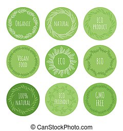 Eco green stickers with hand drawn floral elements