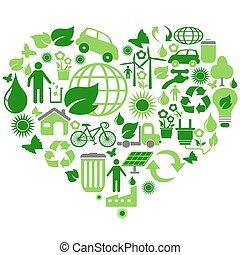 eco green symbols in heart shape