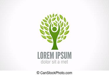 Eco Green Tree logo template. Ecology concept.