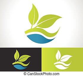eco, groen blad, pictogram