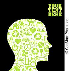 eco, groene, hoofd, silhouette