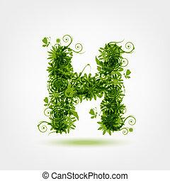 eco, h, desenho, letra, verde, seu
