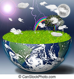 Eco - Half earth with green grass and landscape