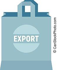 Eco hand bag icon, flat style
