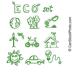 Eco hand drawn doodles