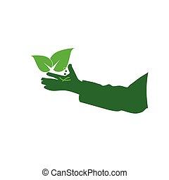eco hand green vector