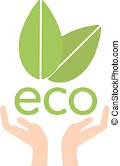 Eco hand with leaves, helping nature concept vector. Ecology
