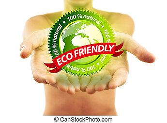 eco, handen, vriendelijk, vasthouden, meldingsbord