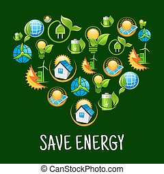 Eco heart with icons of save energy, green power
