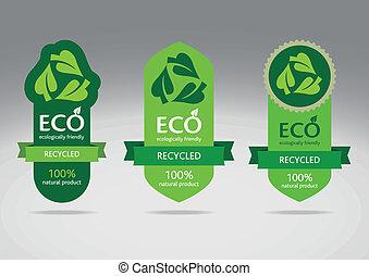 eco, hergebruiken, set, etiket