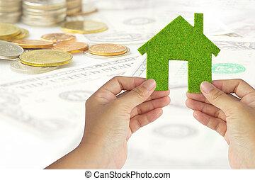 eco, het pictogram van het huis, energie, concept