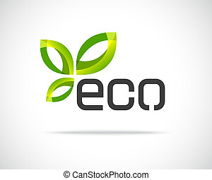 eco, hoja, logotipo