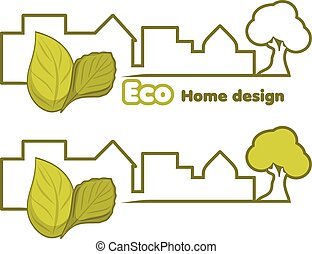 Eco home design. Two icons