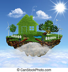eco, house., 抽象的, 飛行, 背景, デザイン, あなたの