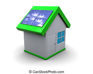 eco house - 3d illustration of house symbol with solar ...