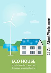 Eco house banner. Sun and wind energy generation