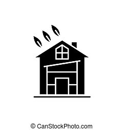 Eco house black icon, vector sign on isolated background. Eco house concept symbol, illustration
