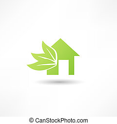 Eco house concept green leaf icon
