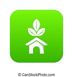 Eco house icon green