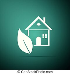 Eco House icon isolated on green background. Flat design. Vector Illustration