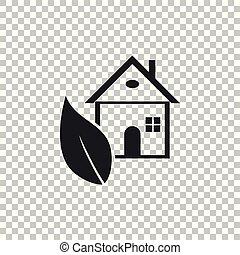 Eco House icon isolated on transparent background. Flat design. Vector Illustration