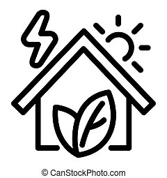 Eco house icon, outline style