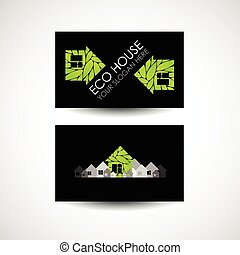 Eco house logo and business card design. Ecological construction. Eco architecture. Eco house and clean environment.