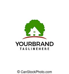 eco house logo design concept template vector