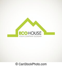 Eco house logo design. Ecological construction idea. Eco architecture and eco building. Eco house and clean environment.