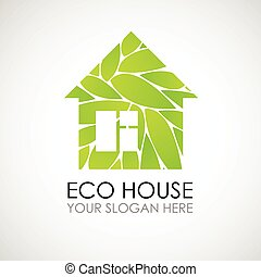 Eco house logo design. Ecological construction. Eco architecture. Eco house and clean environment.