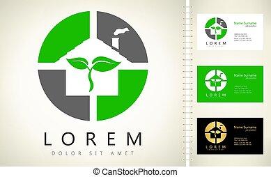 ECO House logo Vector. Real Estate Design.