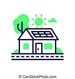 Eco House - modern vector single line icon