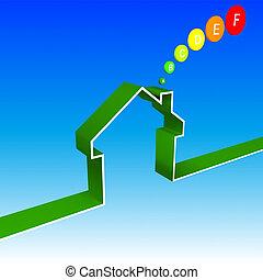 eco house performance illustration - eco house...