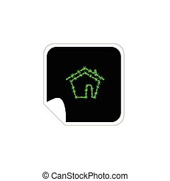 eco house sticker vector illustration