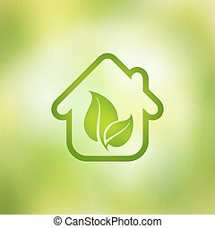 Eco house vector on a green background.