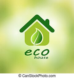 Eco house vector on a green background