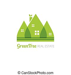 Eco house with green leaves. House logo. Ecological house icon