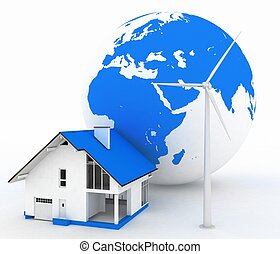 Eco house with wind turbine , environmentally friendly