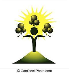 Eco human character. Trees and sun logo sign.