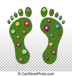 Imprints of the legs of an adult with the texture of green grass and flowers. Ecology, foot health, orthopedics, podology. Isolated on transparent background. Vector illustration