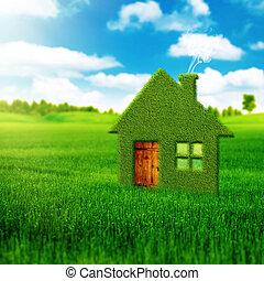 eco, hus, bakgrunder, abstrakt, miljöbetingad