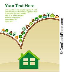 eco, hus, grønne, mønster