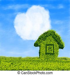 eco, hus, moln, hjärta