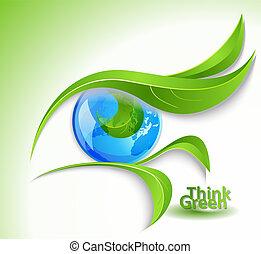 "eco, icône, ""look, green"""
